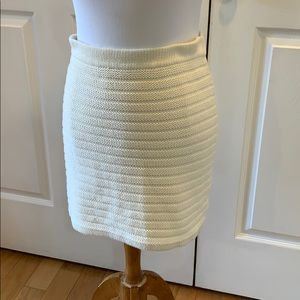 Knit cream colored pencil skirt